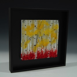 "Birches with Red and Yellow - 10"" x 10"""