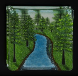 "Winding River with Pines 10"" x 10"""
